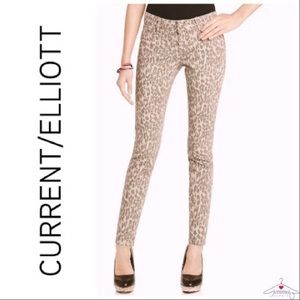Current/Elliott Leopard Print Ankle Skinny Jeans